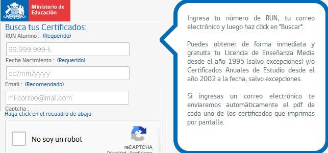 certificado de bachillerato