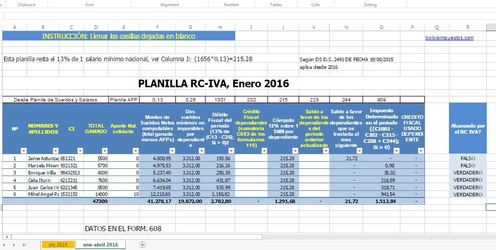 Calcular el IVA de CR 2016 con declaración de impuestos - Bolivia Tax Blog