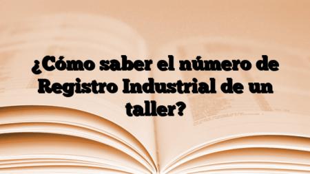 ¿Cómo saber el número de Registro Industrial de un taller?