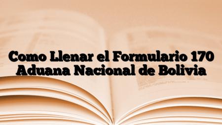 Como Llenar el Formulario 170 Aduana Nacional de Bolivia