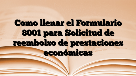 Como llenar el Formulario 8001 para Solicitud de reembolso de prestaciones económicas