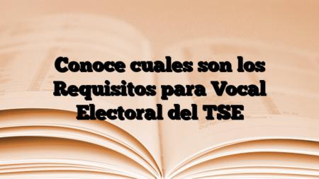 Conoce cuales son los Requisitos para Vocal Electoral del TSE