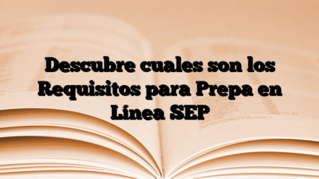 Descubre cuales son los Requisitos para Prepa en Línea SEP