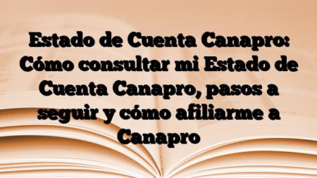 Estado de Cuenta Canapro: Cómo consultar mi Estado de Cuenta Canapro, pasos a seguir y cómo afiliarme a Canapro