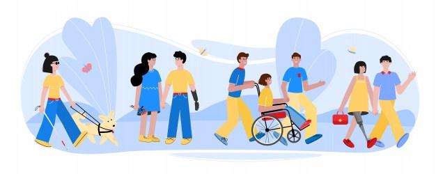 Personas con discapacidad que caminan con amigos en la naturaleza de ...