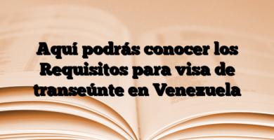 Aquí podrás conocer los Requisitos para visa de transeúnte en Venezuela