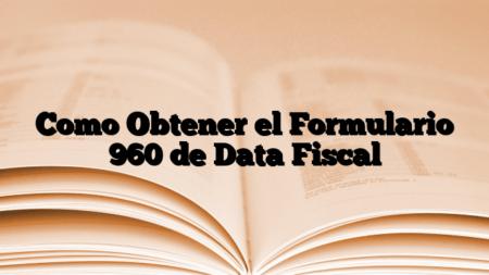 Como Obtener el Formulario 960 de Data Fiscal