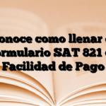 Conoce como llenar el Formulario SAT 821 de Facilidad de Pago