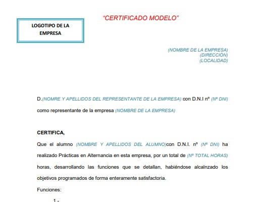 Modelo de certificado de empresa