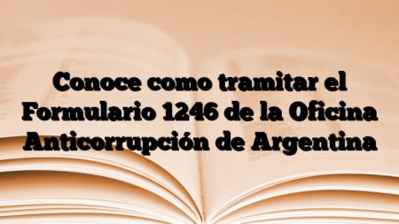 Conoce como tramitar el Formulario 1246 de la Oficina Anticorrupción de Argentina