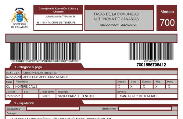 Modelo 700 de la Agencia Tributaria de las Islas Canarias