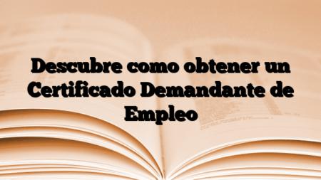 Descubre como obtener un Certificado Demandante de Empleo