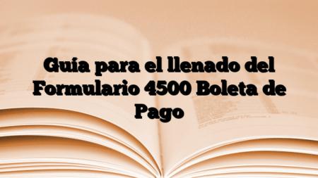 Guía para el llenado del Formulario 4500 Boleta de Pago